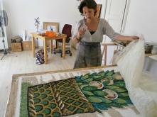 Copia in mosaico di un decorazione floreale del Museo di Galla Placidia realizzata per decorare una cappella funeraria - autore Gret
