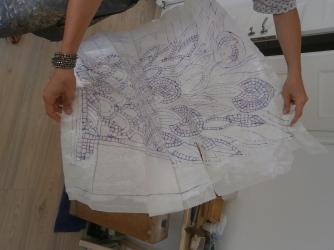 Reticolo del decoro floreale tratto dal cartone del Museo di Galla Placidia- opera di Greta Guberti