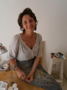 Greta Guberti nella sua bottega laboratorio di prossima inaugurazione (20/09/14)