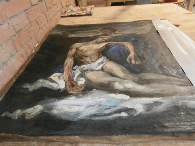 Restauro pittorico su tela - opera di Cristina Lusvardi restauratrice di sculture presso Laboratorio di Restauro e Conservazione Opere d'Arte Reggio Emilia