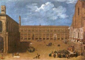 Veduta di Piazza Maggiore Bologna con casottino di burattini; sec. XVIII - Collez. Fondaz. Cassa Risp. BO