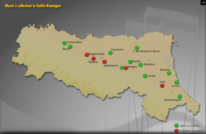 """Mappa dei musei e dei fondi di burattini in Emilia Romagna- IBC E-R. cd.""""chi è di scena"""""""