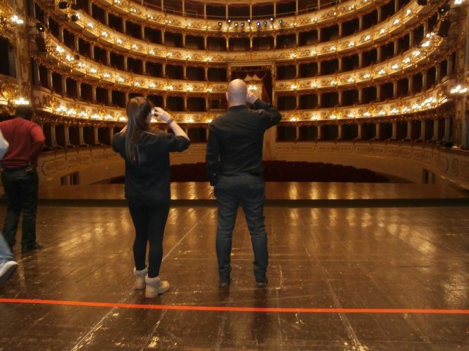 Il Teatro Romolo Valli di Reggio Emilia visto dal palco, senza spettatori