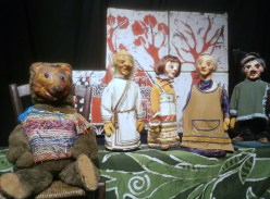 La prima sala de La casa dei Burattini di Otello Sarzi: l'Orso Masha
