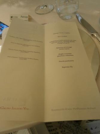 Menu in occasione del Grand Prix de la Culture Gastronomique assegnato ad Alma Scuola di Cucina - Reggia di Colorno 5 maggio 2015