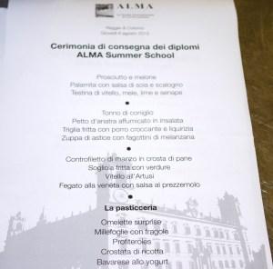 Il menu della cena del 6 agosto - Summer School 2015 di Alma La Scuola di Cucina